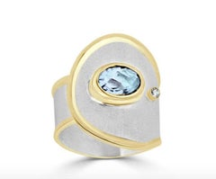 Custom size 10 Yianni Creations Aquamarine Diamond Ring Silver and 24 Karat Gold