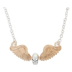 Custom Skull and Antique Wings Necklace Sterling and 14 Karat Yellow Gold Unique