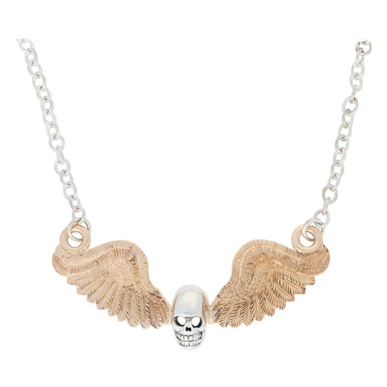 Custom Skull and Antique Wings Necklace Sterling and 14 Karat Yellow Gold Unique For Sale