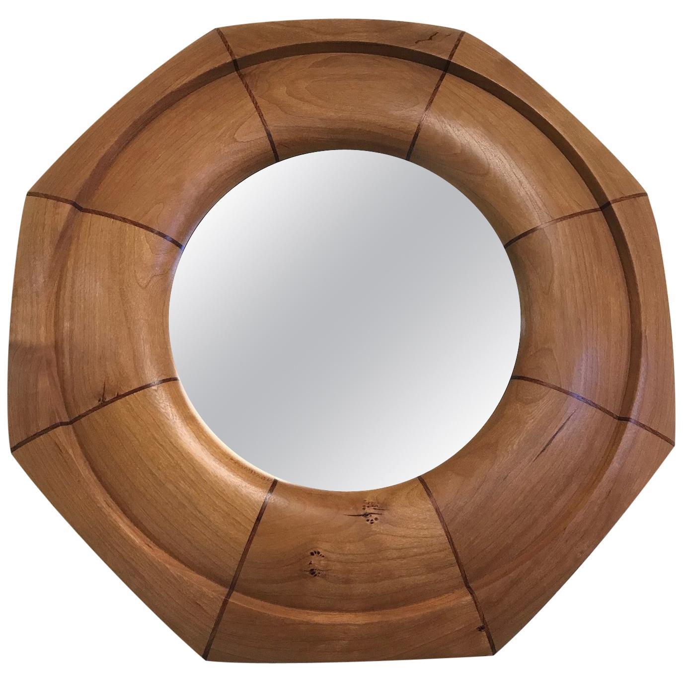 Custom Solid Cherrywood with Walnut Inlay Octagonal Mirror