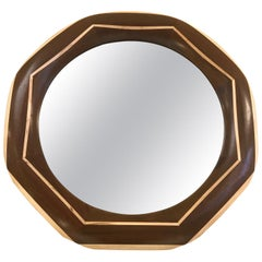 Custom Solid Walnut Mirror with Maple Trim and Maple Inlay