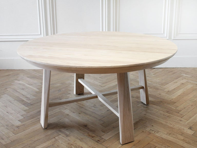 North American Custom Solid White Oak Round Dining Table For Sale