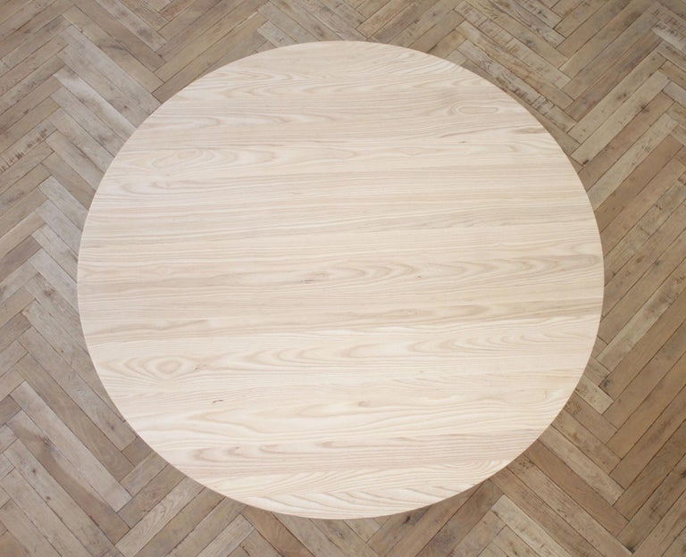 Custom Solid White Oak Round Dining Table In New Condition For Sale In Brea, CA