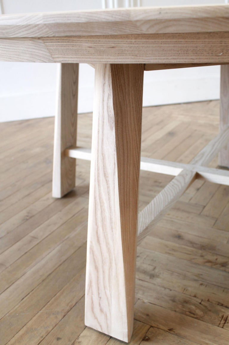 Contemporary Custom Solid White Oak Round Dining Table For Sale