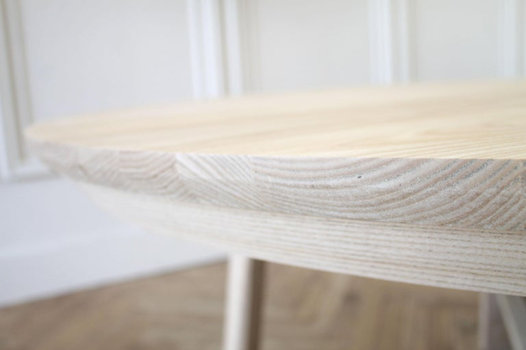 Custom Solid White Oak Round Dining Table For Sale 1