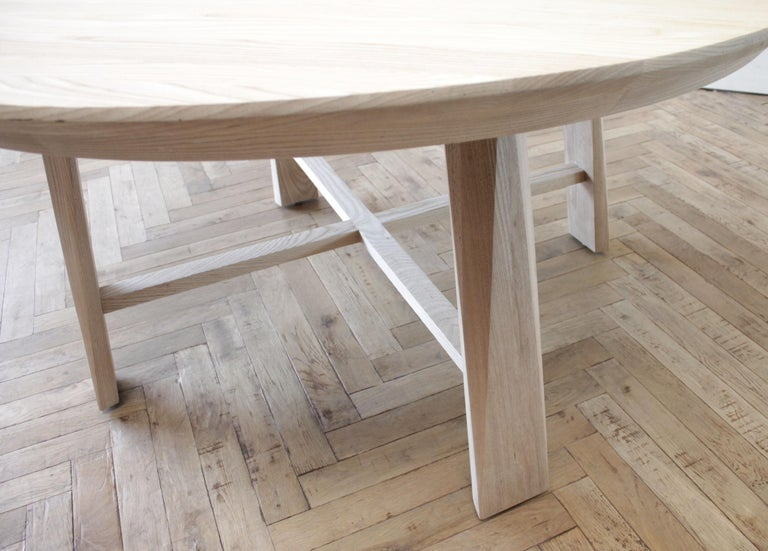 Custom Solid White Oak Round Dining Table For Sale 2