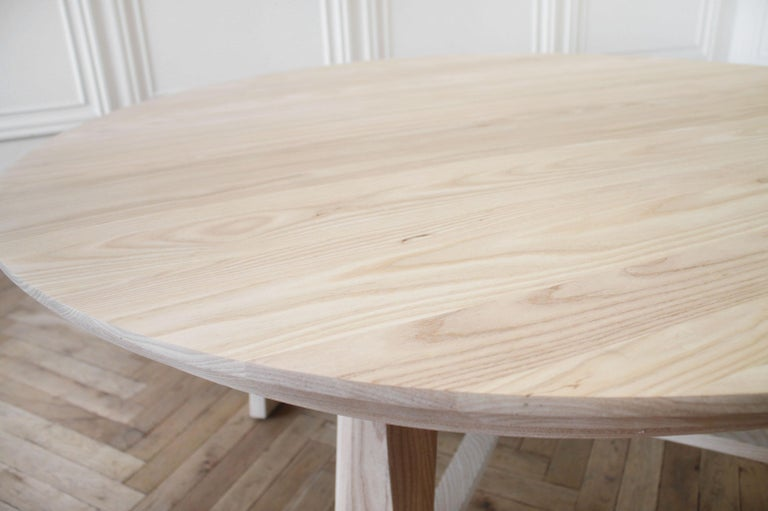 Custom Solid White Oak Round Dining Table For Sale 3