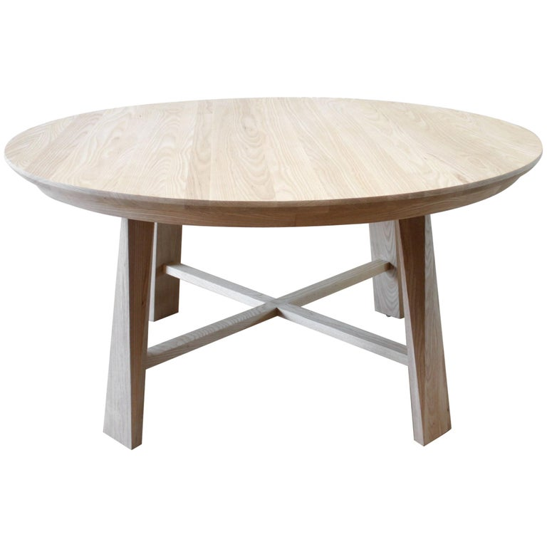 Custom Solid White Oak Round Dining Table For Sale