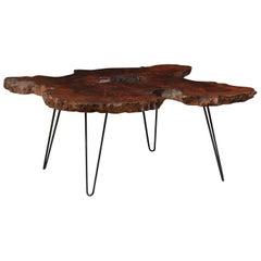 Custom Spanish Live-Edge Hardwood Slab Top Coffee Table with Iron Legs