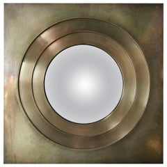 Custom Square Brass Convex Mirror by Adesso Imports