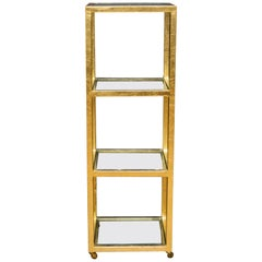 Custom Steel and Gold Leafed Rolling Tall Cart, circa 2014