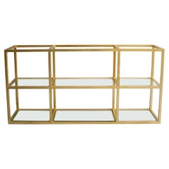 Custom Steel and Gold Leafed Wall Mounted Shelf or Console, circa 2014