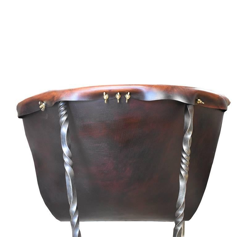 Thread Custom Steel and Leather Hand-Forged Black and Brown Handmade Sling Chairs For Sale