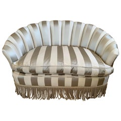 Custom Striped Silk Upholstered Channel Back Curved Loveseat