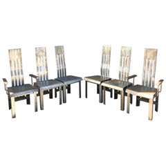 Custom Studio Design Steel Dining Chairs, 1980's