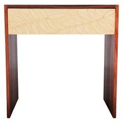 Custom Stunning Norm Stoeker Pecan Leaf Carved Studio Minimalist Side Table