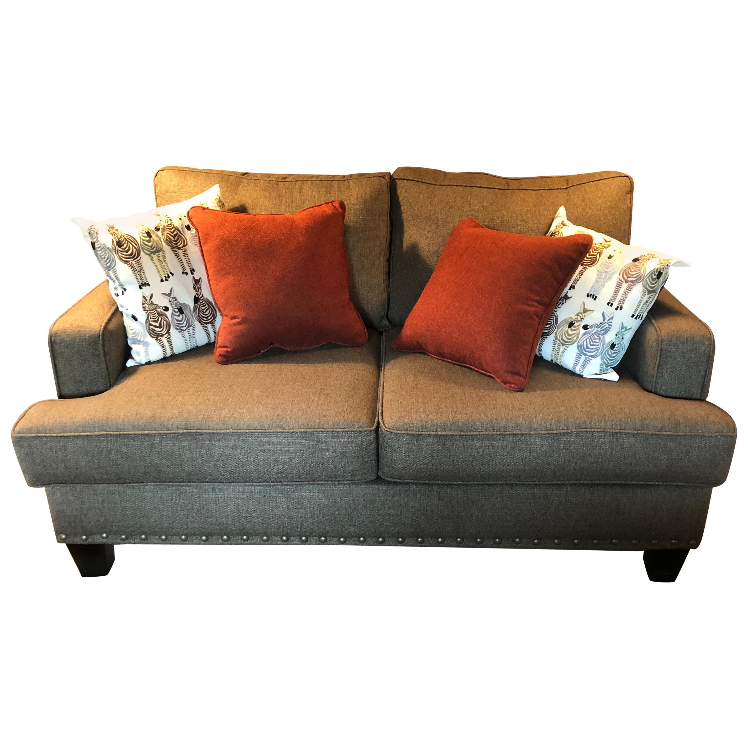 Custom Stylish Designer Upholstered Loveseat Sofa with Large Brass Nailheads