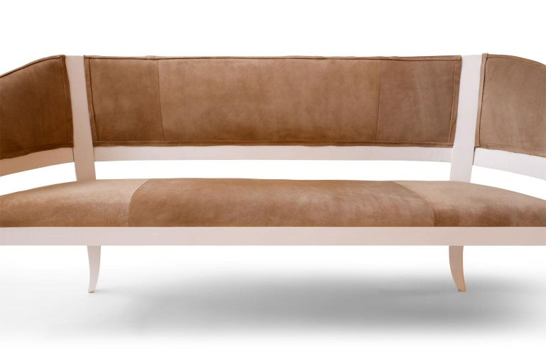 Wood Custom Suede Upholstered Settee For Sale