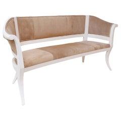 Custom Suede Upholstered Settee