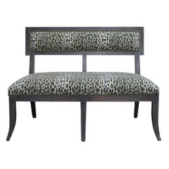 Custom Swedish Gray Dining Banquette in Green Leopard