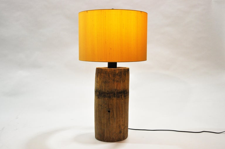 Custom table lamp from Chicago made from reclaimed wood. Rewired for use in the U.S. Wear consistent with age and use.