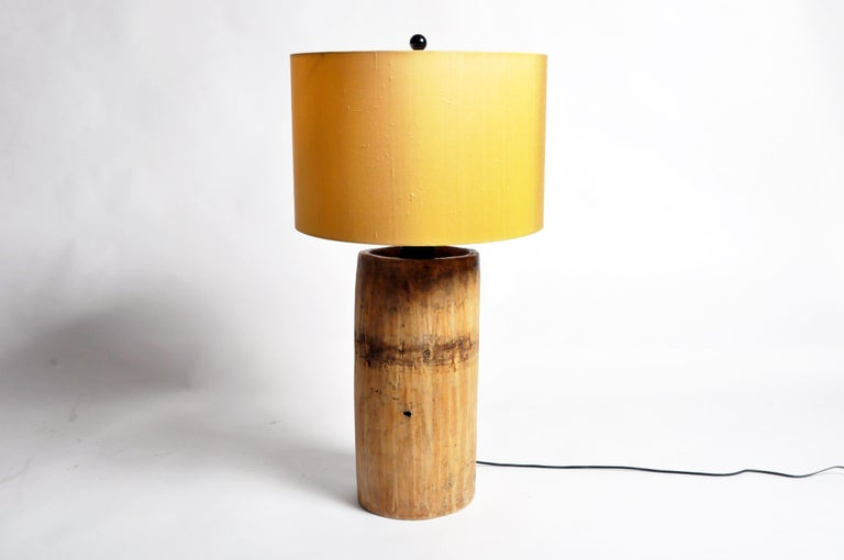 North American Custom Table Lamp Made from Reclaimed Wood For Sale