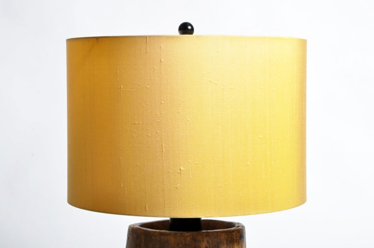Custom Table Lamp Made from Reclaimed Wood In Good Condition For Sale In Chicago, IL