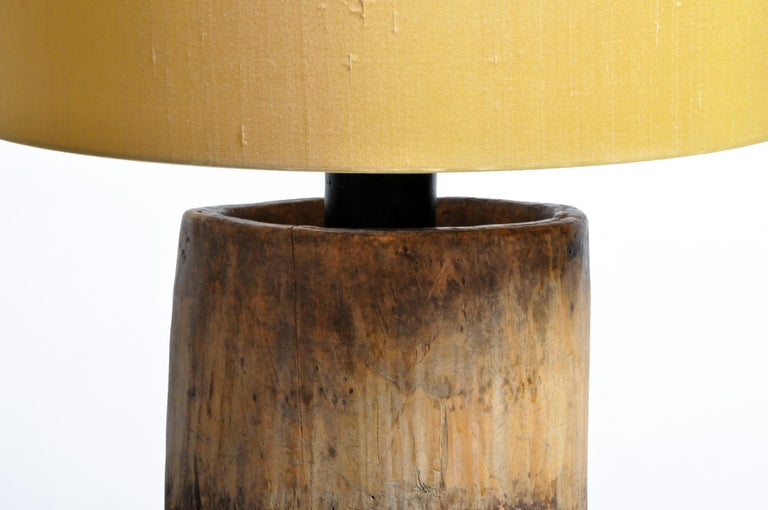 Contemporary Custom Table Lamp Made from Reclaimed Wood For Sale