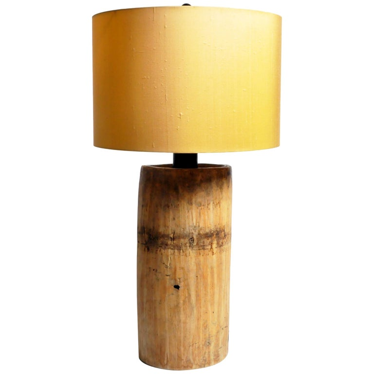 Custom Table Lamp Made from Reclaimed Wood For Sale