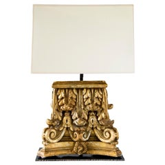Custom Table Lamp with Gilded Capitol Fragments