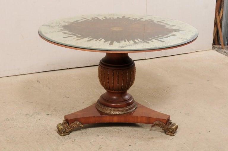 American Custom Table with Verre Églomisé Sunburst Mirror Top over Carved Pedestal Base For Sale