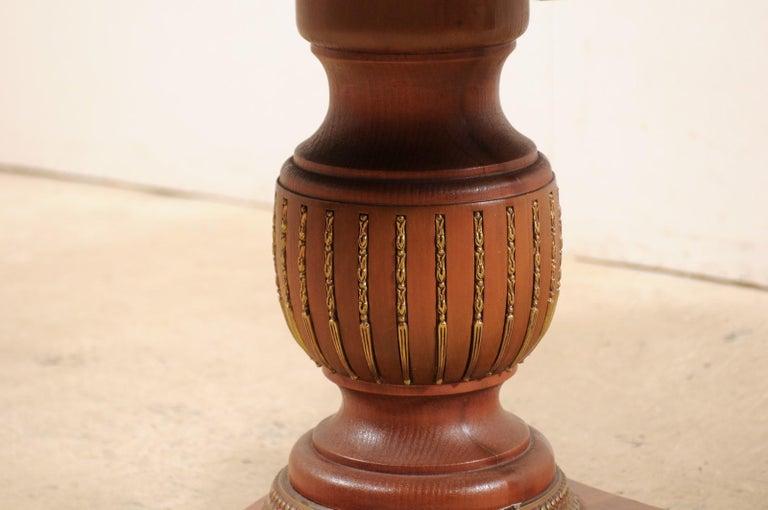 20th Century Custom Table with Verre Églomisé Sunburst Mirror Top over Carved Pedestal Base For Sale