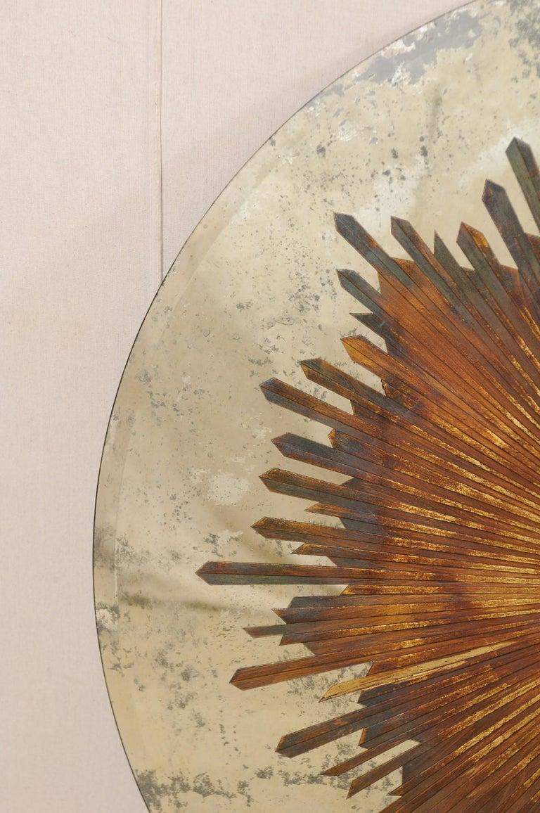 Custom Table with Verre Églomisé Sunburst Mirror Top over Carved Pedestal Base For Sale 1