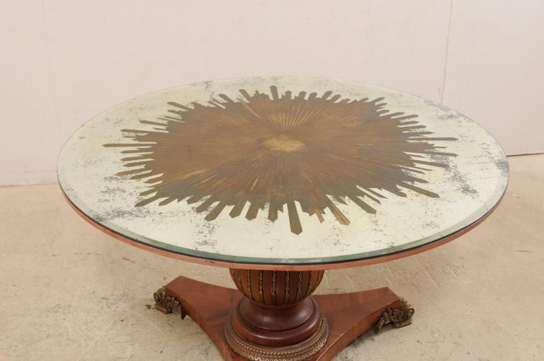 Custom Table with Verre Églomisé Sunburst Mirror Top over Carved Pedestal Base For Sale 2