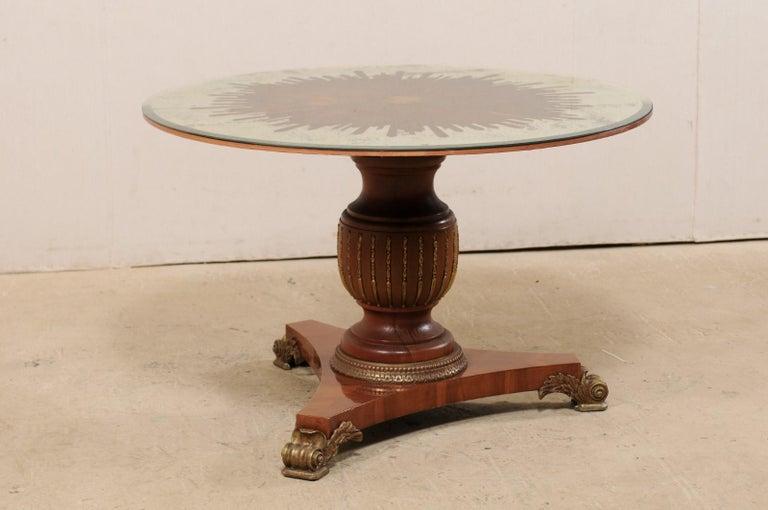 Custom Table with Verre Églomisé Sunburst Mirror Top over Carved Pedestal Base For Sale 3