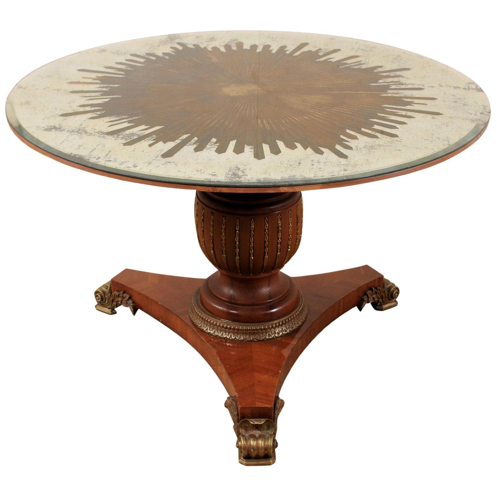 Custom Table with Verre Églomisé Sunburst Mirror Top over Carved Pedestal Base