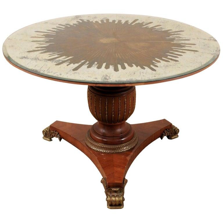 Custom Table with Verre Églomisé Sunburst Mirror Top over Carved Pedestal Base For Sale