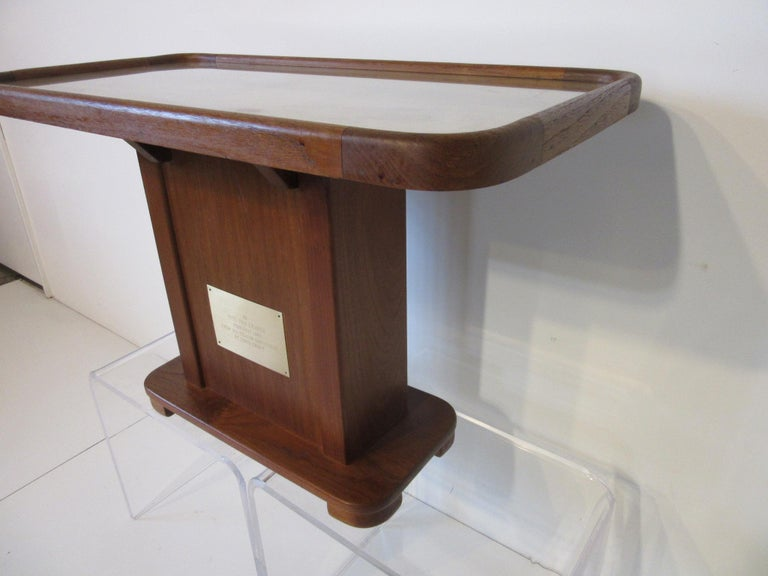 Adirondack Custom Teak Presentation Side Table by the Chris Craft Boat Company  For Sale