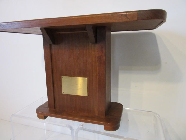 American Custom Teak Presentation Side Table by the Chris Craft Boat Company  For Sale