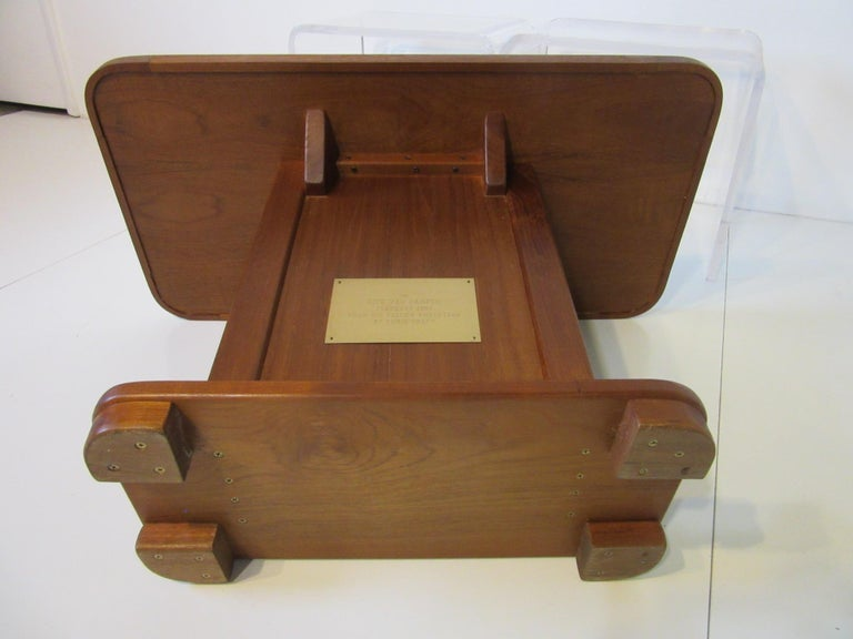 Custom Teak Presentation Side Table by the Chris Craft Boat Company  For Sale 1
