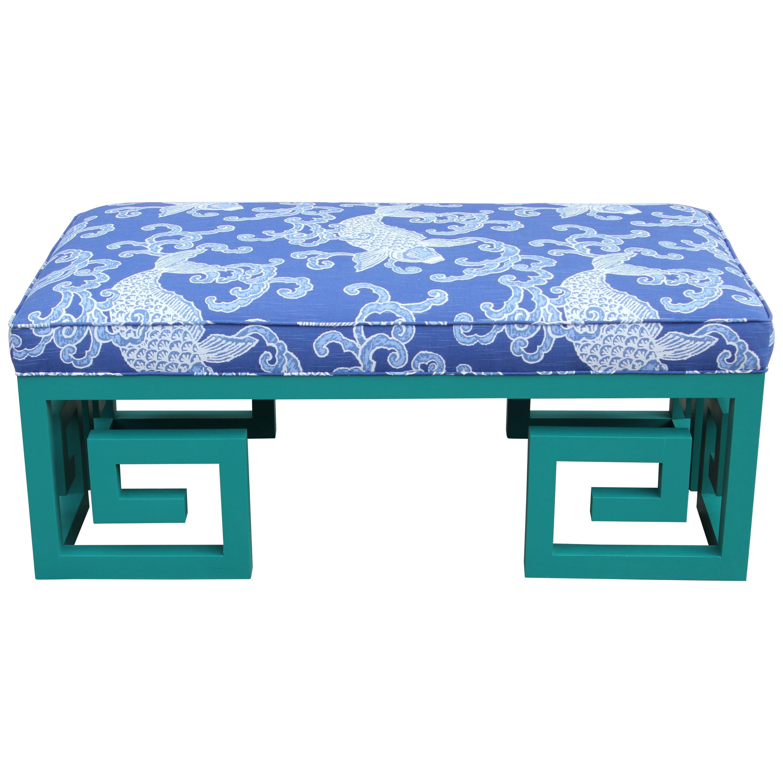 Custom Teal Blue Greek Key Bench with Blue Koi Fish Fabric