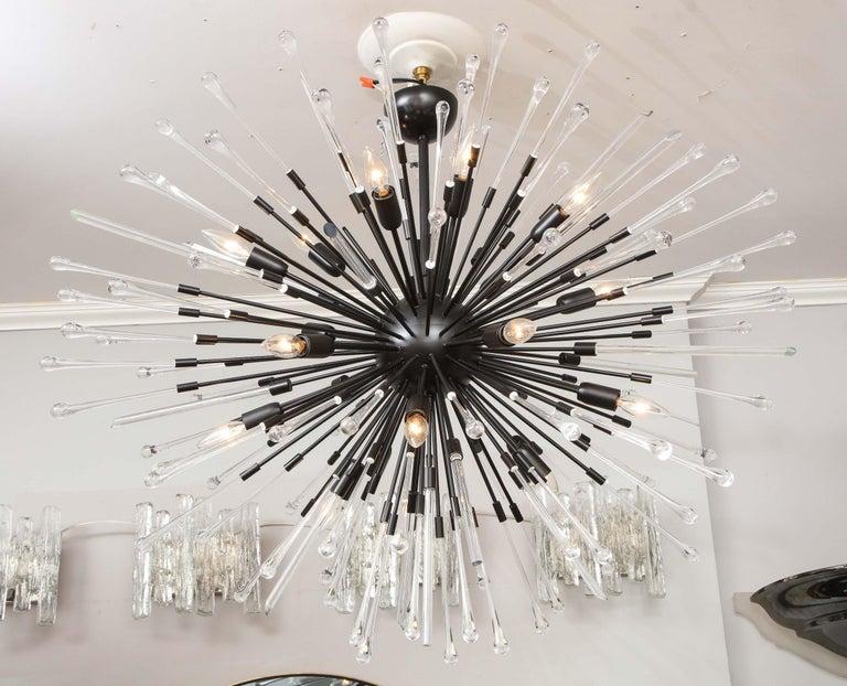 Custom teardrop and glass rod Sputnik chandelier in 43