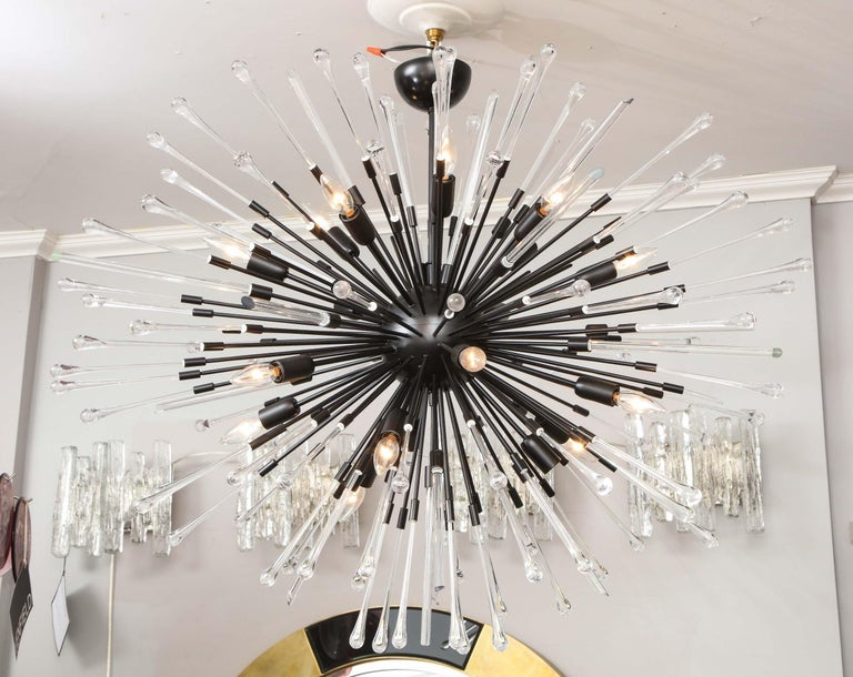 Mid-Century Modern Custom Teardrop and Glass Rod Sputnik Chandelier For Sale