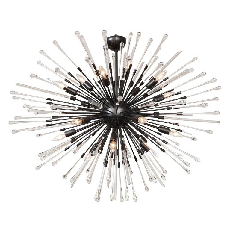 Custom Teardrop and Glass Rod Sputnik Chandelier For Sale