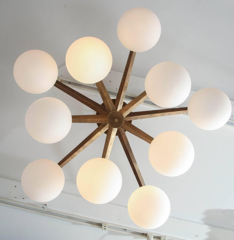 10-Opaline Globe Flush Mount In New Condition For Sale In New York, NY