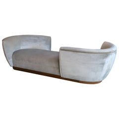 Custom Tete-a-Tete Sofa Bench in Grey Velvet with Walnut Base by Adesso Imports