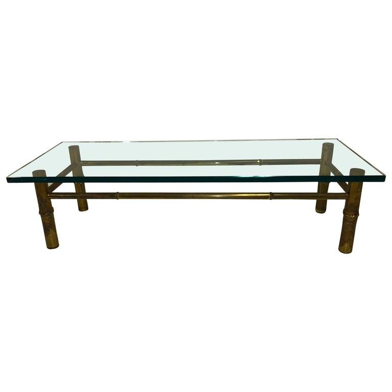 Custom T.H. Robsjohn-Gibbings Brass Coffee Table, for Kandell Residence For Sale