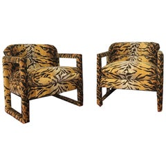 Custom Tiger Print Milo Baughman Chairs