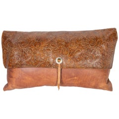 Custom Tooled Leather Pillow