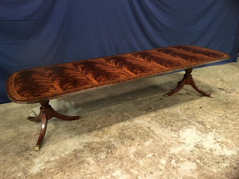 American Custom Traditional Mahogany Georgian Dining Table by Leighton Hall For Sale